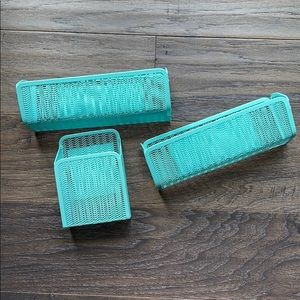 Teal Magnetic Small Baskets Organizers